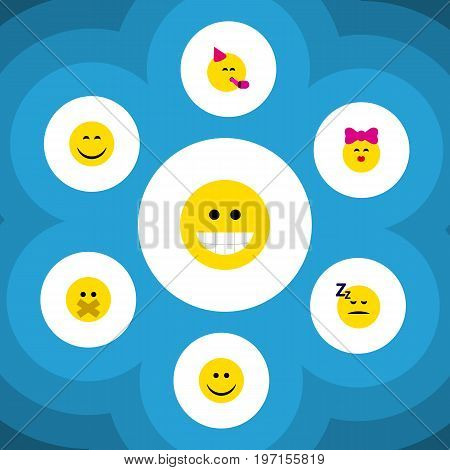Flat Icon Emoji Set Of Party Time Emoticon, Smile, Caress And Other Vector Objects