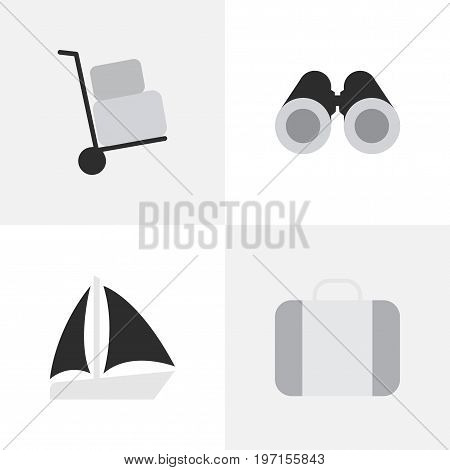 Elements Schooner, Cargo, Optical Zoom And Other Synonyms Suitcase, Truck And Cargo.  Vector Illustration Set Of Simple Vacation Icons.