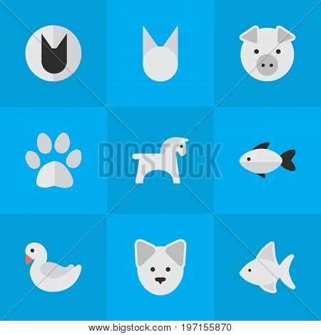 Elements Perch, Swan, Piggy And Other Synonyms Pig, Swan And Sweet.  Vector Illustration Set Of Simple Fauna Icons.