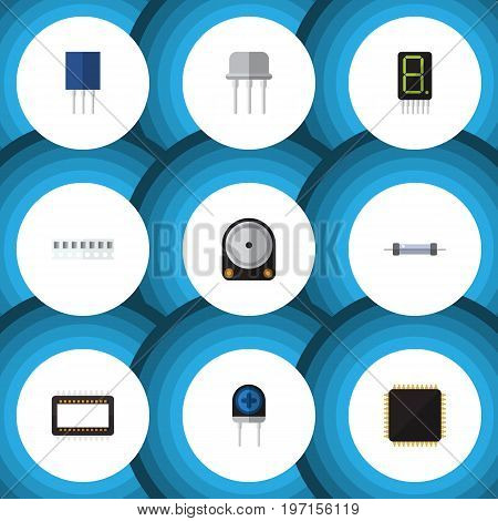 Flat Icon Device Set Of Memory, Receptacle, Cpu And Other Vector Objects