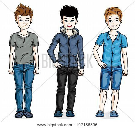 Different young teen boys cute children standing in stylish casual clothes. Vector set of beautiful kids illustrations. Childhood and family lifestyle clip art.