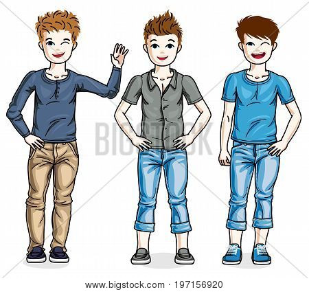 Different young teen boys cute children standing wearing fashionable casual clothes. Vector set of beautiful kids illustrations. Childhood and family lifestyle clip art.