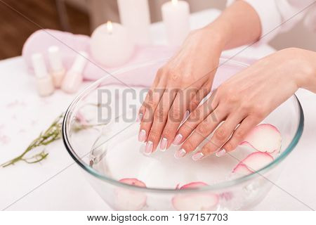 Close-up View Of Female Hands Receiving Spa Treatment In Glass Bowl With Rose Petals