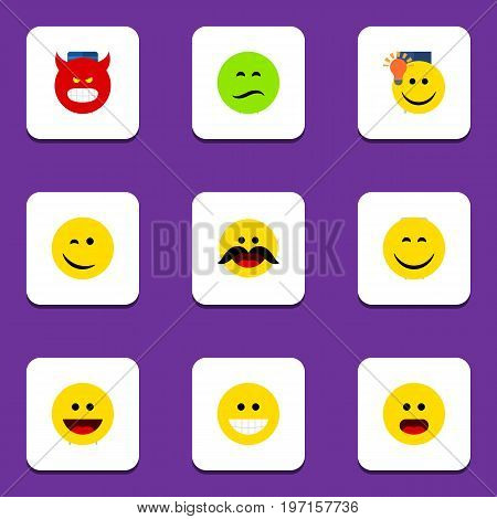 Flat Icon Emoji Set Of Grin, Laugh, Smile And Other Vector Objects