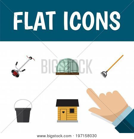 Flat Icon Garden Set Of Hothouse, Tool, Pail And Other Vector Objects