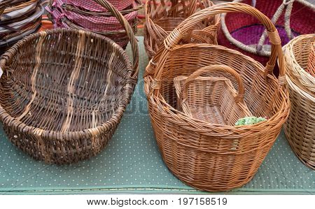 Handmade Baskets For Sale At Local Street Market. Provence. France