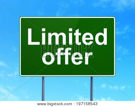 Finance concept: Limited Offer on green road highway sign, clear blue sky background, 3D rendering