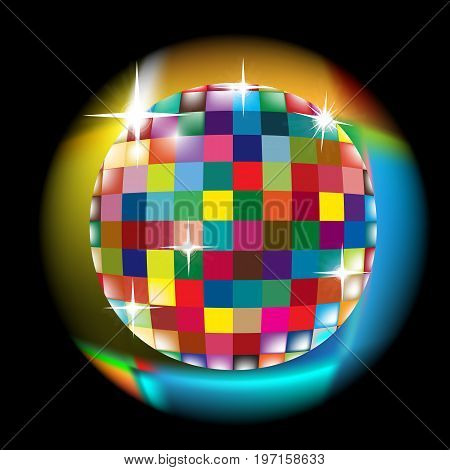 Colorful squared circle with glow effect; Discoball vector