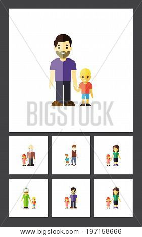 Flat Icon Relatives Set Of Grandma, Son, Mother Vector Objects