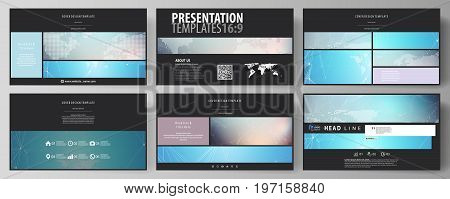 The black colored minimalistic vector illustration of the editable layout of high definition presentation slides design templates. Molecule structure. Science, technology concept. Polygonal design