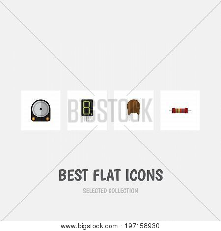 Flat Icon Technology Set Of Hdd, Display, Resistance And Other Vector Objects