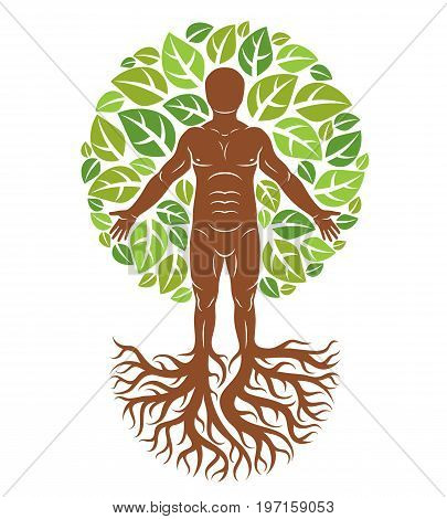 Vector illustration of human being created as continuation of tree with strong roots and composed using natural green tree corona with leaves. Greenman pagan god metaphor.