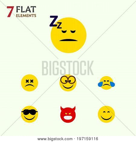 Flat Icon Expression Set Of Pouting, Happy, Cross-Eyed Face And Other Vector Objects