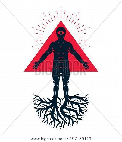 Mason vector illustration created as athletic man composed with tree roots and red triangle with all-seeing eye.