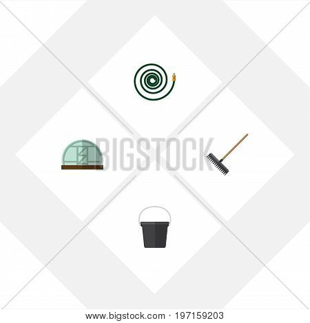 Flat Icon Dacha Set Of Hothouse, Hosepipe, Pail And Other Vector Objects