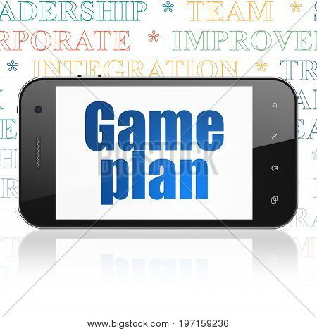 Finance concept: Smartphone with  blue text Game Plan on display,  Tag Cloud background, 3D rendering