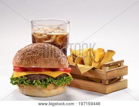 Burger,fried potatoes and coke soda drink menu.