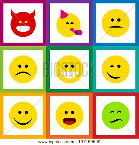 Flat Icon Gesture Set Of Pouting, Party Time Emoticon, Sad And Other Vector Objects