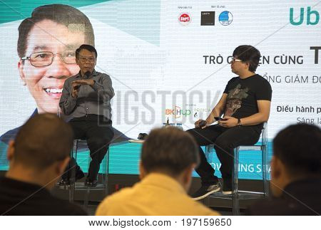 Hanoi, Vietnam - Jul 25, 2017: Thuan Pham, CTO of Uber global making a speach at a talk show on technology and the relationship between it and start up companies.