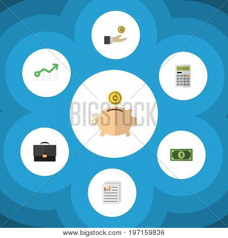 Flat Icon Finance Set Of Money Box, Greenback, Growth And Other Vector Objects