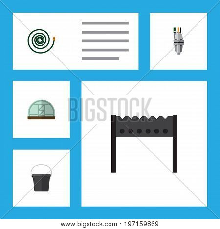 Flat Icon Farm Set Of Barbecue, Pail, Pump And Other Vector Objects