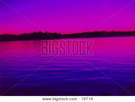 Purple Water Sunset