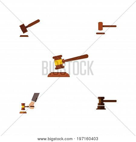 Flat Icon Hammer Set Of Government Building, Hammer, Crime And Other Vector Objects