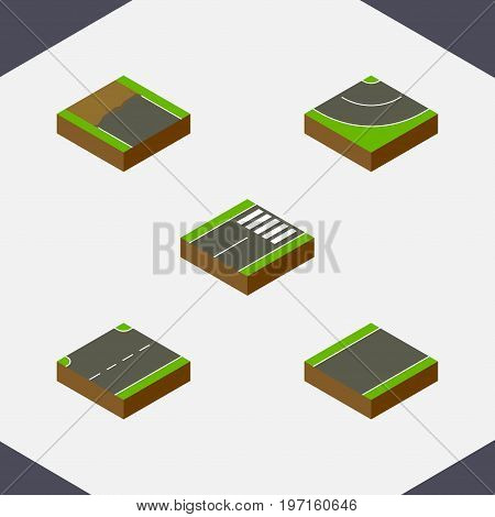 Isometric Way Set Of Incomplete, Road, Footer And Other Vector Objects