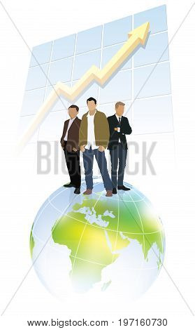 Three businessmen standing on a top of world globe and in front of large chart.