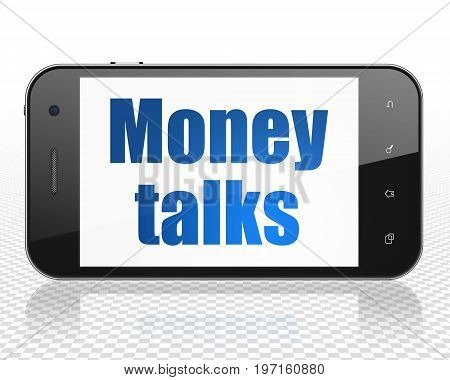 Business concept: Smartphone with blue text Money Talks on display, 3D rendering