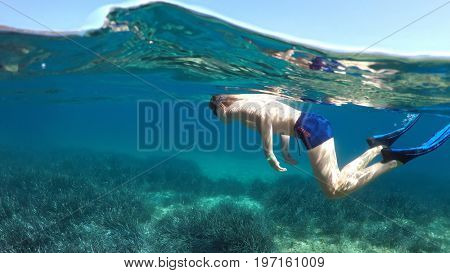 swimmer in flippers dives into the sea