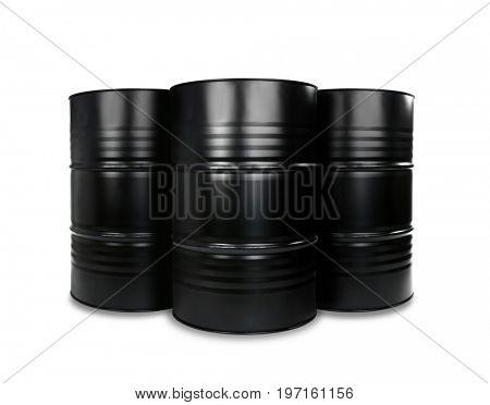 Black oil barrels on white background