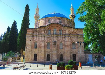 Emir Sultan Mosque (Turkish: Emir Sultan Camii) is a mosque in Bursa, Turkey. First built in the 14th century, it was rebuilt in 1804 upon the orders of the Ottoman Sultan Selim III, and re-built again in 1868, along slightly varying plans each time.