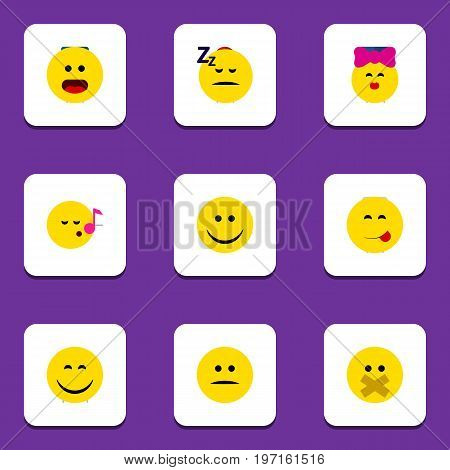 Flat Icon Emoji Set Of Displeased, Caress, Joy And Other Vector Objects