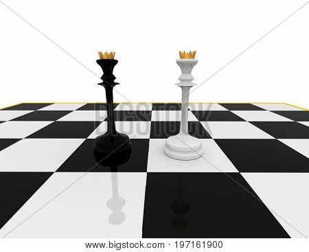 chess concept . meeting .  . 3d rendered illustration