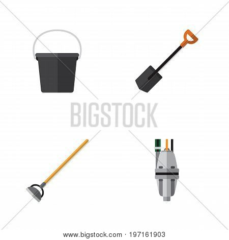 Flat Icon Dacha Set Of Tool, Pump, Pail And Other Vector Objects