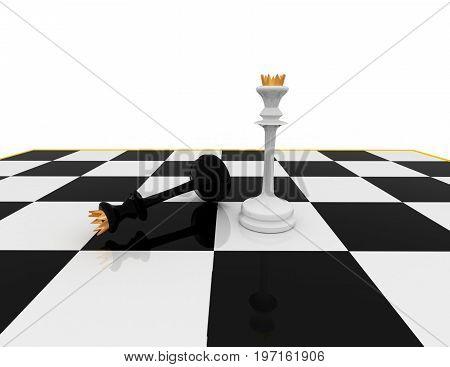 chess concept . winner   . 3d rendered illustration