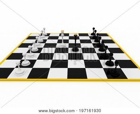 chess concept . strategy   . 3d rendered illustration