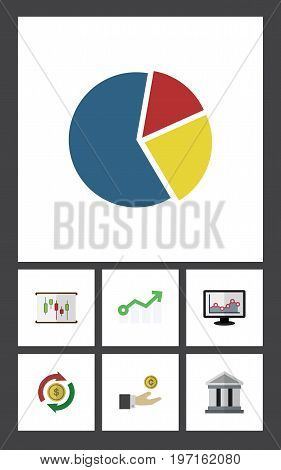Flat Icon Incoming Set Of Growth, Hand With Coin, Diagram Vector Objects