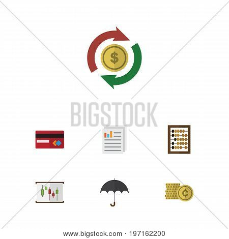Flat Icon Gain Set Of Interchange, Diagram, Cash And Other Vector Objects