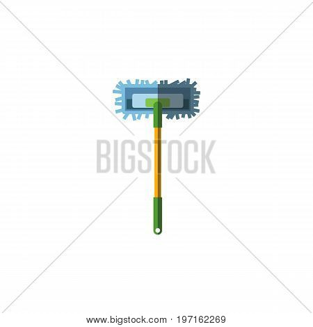 Besom Vector Element Can Be Used For Broomstick, Sweep, Besom Design Concept.  Isolated Broomstick Flat Icon.
