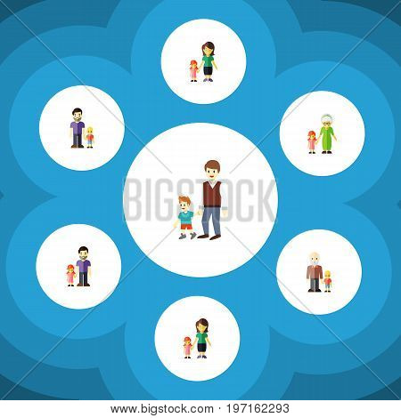 Flat Icon Relatives Set Of Mother, Daugther, Boys And Other Vector Objects
