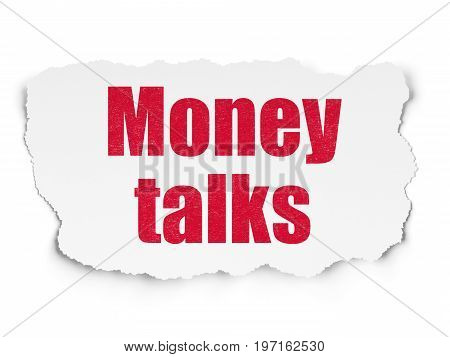 Business concept: Painted red text Money Talks on Torn Paper background with  Binary Code