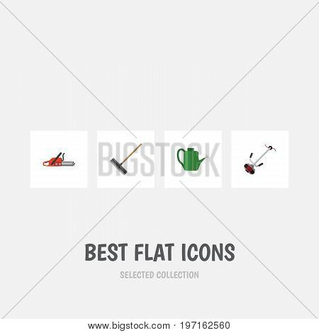 Flat Icon Dacha Set Of Hacksaw, Grass-Cutter, Harrow And Other Vector Objects