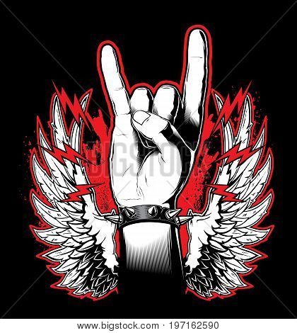 A man's hand showing the Rock and Roll sign. Vector illustration