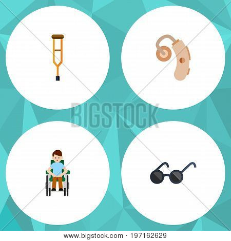 Flat Icon Disabled Set Of Stand, Disabled Person, Audiology Vector Objects