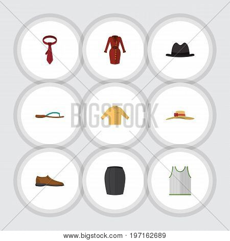 Flat Icon Clothes Set Of Elegant Headgear, Singlet, Male Footware And Other Vector Objects