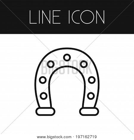 Metal Vector Element Can Be Used For Horseshoe, Metal, Shoe Design Concept.  Isolated Horseshoe Outline.