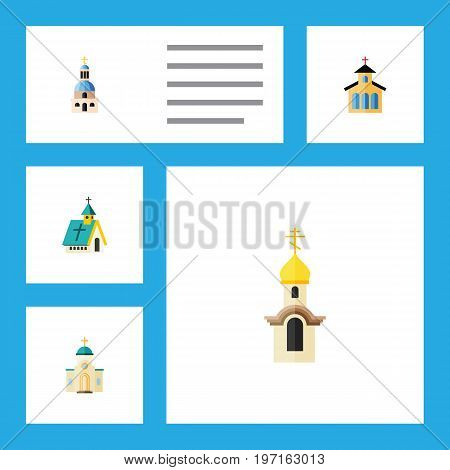 Flat Icon Building Set Of Structure, Religious, Catholic And Other Vector Objects