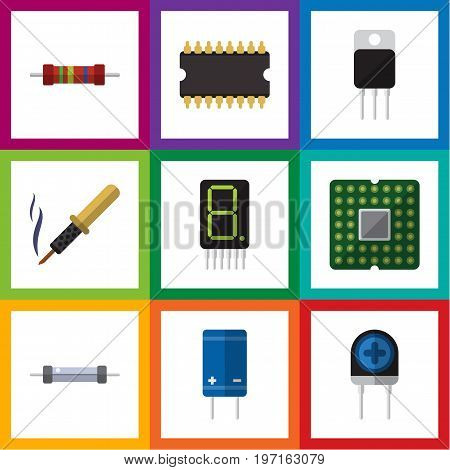 Flat Icon Electronics Set Of Resistor, Display, Repair And Other Vector Objects